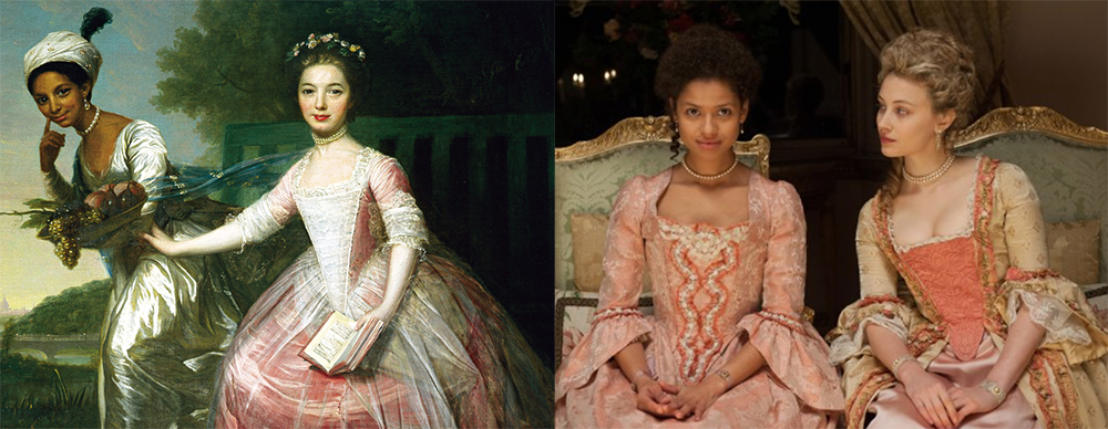 Left: 1779 painting of Dido Belle and Elizabeth Murray (attributed to Johann Zoffany). Right: Belle, 2013 (IMDB)