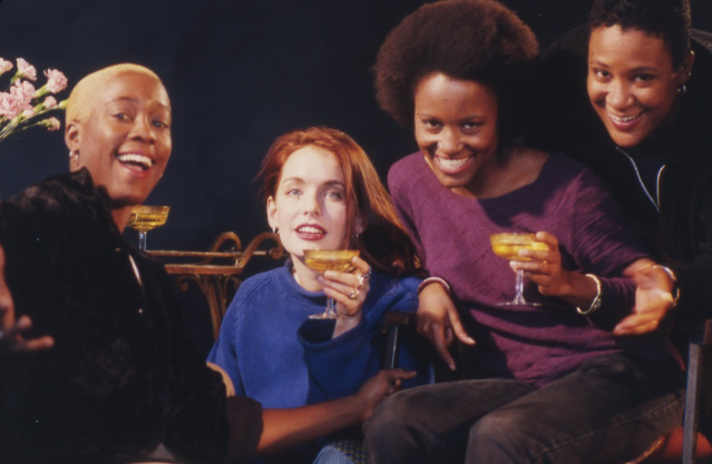 Bottoms Up! Cheryl Dunye (left) with the cast of her first feature film, 'The Watermelon Woman' in 1996