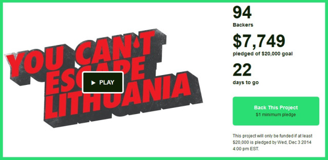 The Kickstarter page for 'You Can't Escape Lithuania'
